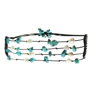 Handmade Crocheted Cotton Turquoise Pearl 4-strand Pull Bracelet (Thailand)