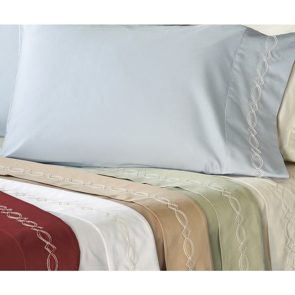 Grand Luxe Egyptian Cotton Sateen 500 Thread Count Chain Deep Pocket Sheet Set and Pillowcase