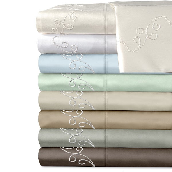 Grand Luxe Egyptian Cotton Sateen 500 Thread Count Scroll Deep Pocket Sheet Set