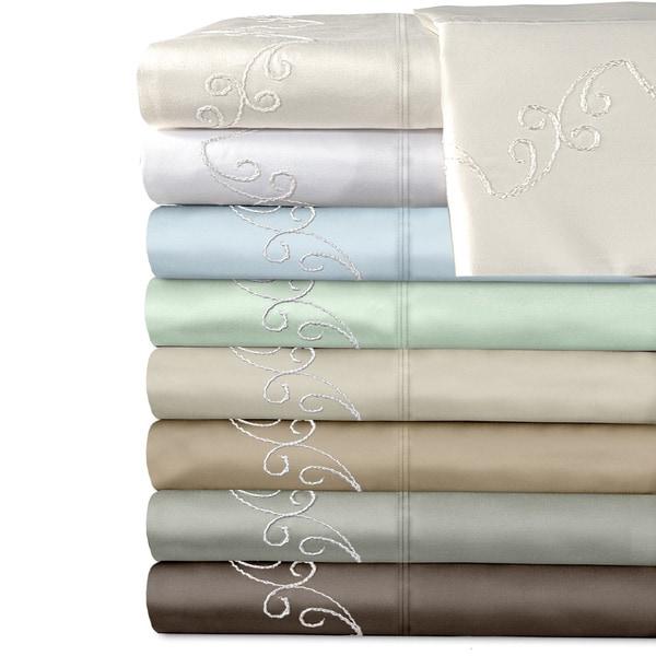 Grand Luxe Egyptian Cotton Sateen 500 Thread Count Scroll Deep Pocket Sheet Set