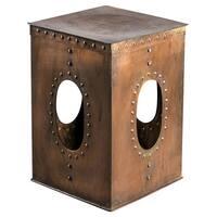 Square Rivet Copper End Table
