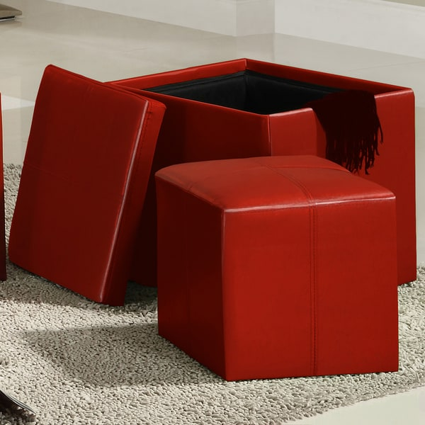 Swayne Red Storage Ottoman with Mini Foot Stool by INSPIRE Q