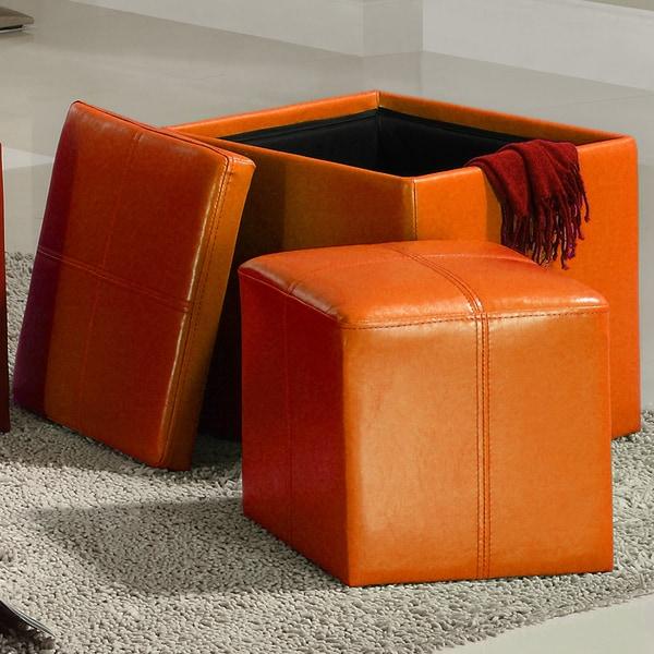 MID-CENTURY LIVING Swayne Orange Storage Ottoman with Mini