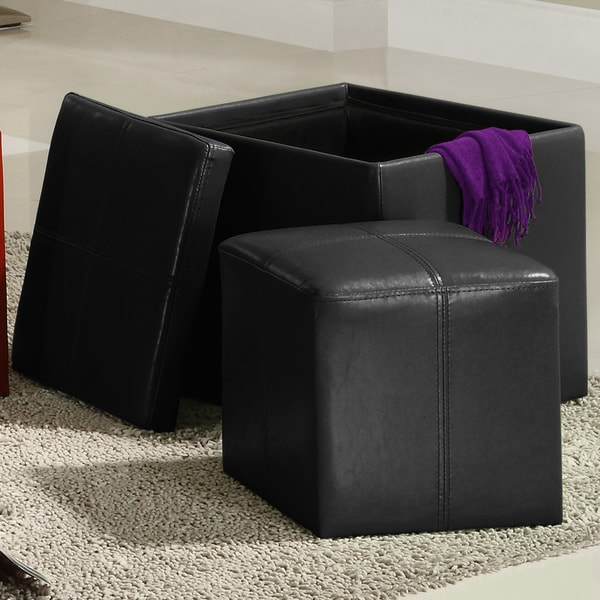 TRIBECCA HOME Swayne Black Storage Ottoman with Mini Foot Stool