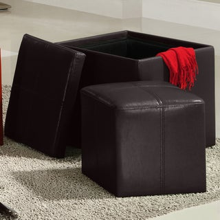 TRIBECCA HOME Swayne Brown Storage Ottoman with Mini Foot Stool