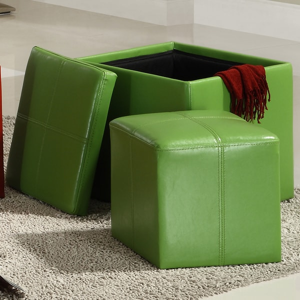 Swayne Green Storage Ottoman with Mini Foot Stool by TRIBECCA HOME