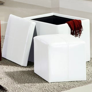 INSPIRE Q Swayne White Storage Ottoman with Mini