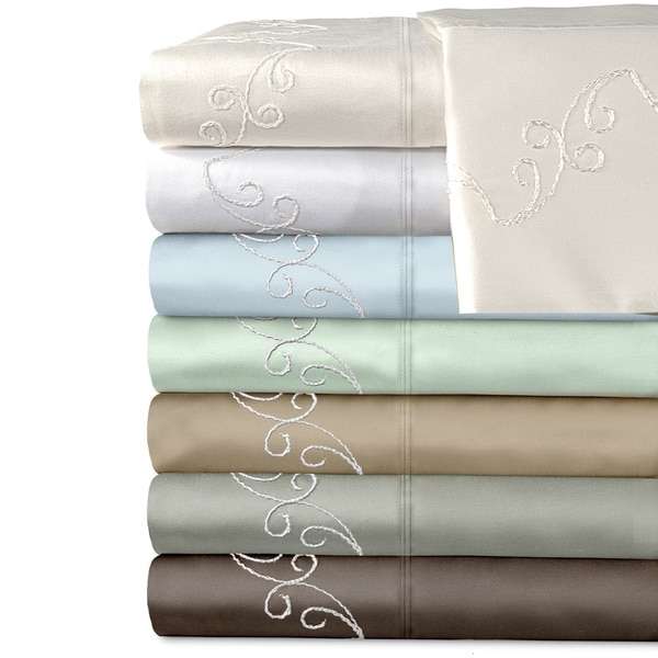 Grand Luxe 300 Thread Count Egyptian Cotton Sateen Scroll Deep Pocket Sheet Set