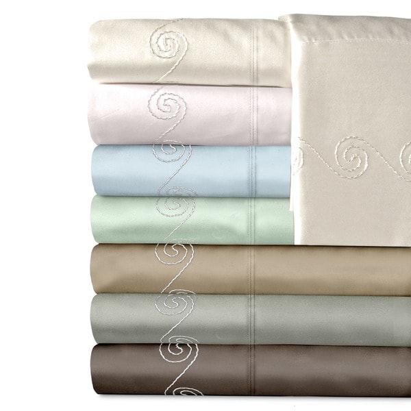 Grand Luxe Egyptian Cotton Sateen 300 Thread Count Swirl Deep Pocket Sheet Set