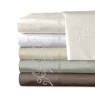 Grand Luxe Egyptian Cotton Sateen 800 Thread Count Scroll Solid Deep Pocket Sheet Set