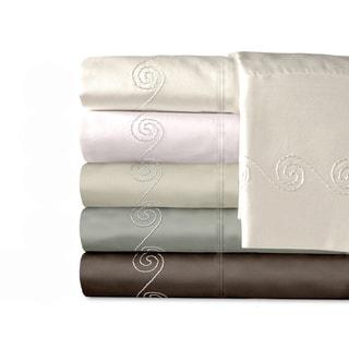 Grand Luxe Egyptian Cotton Sateen 800 TC Deep Pocket Swirl Sheet Set