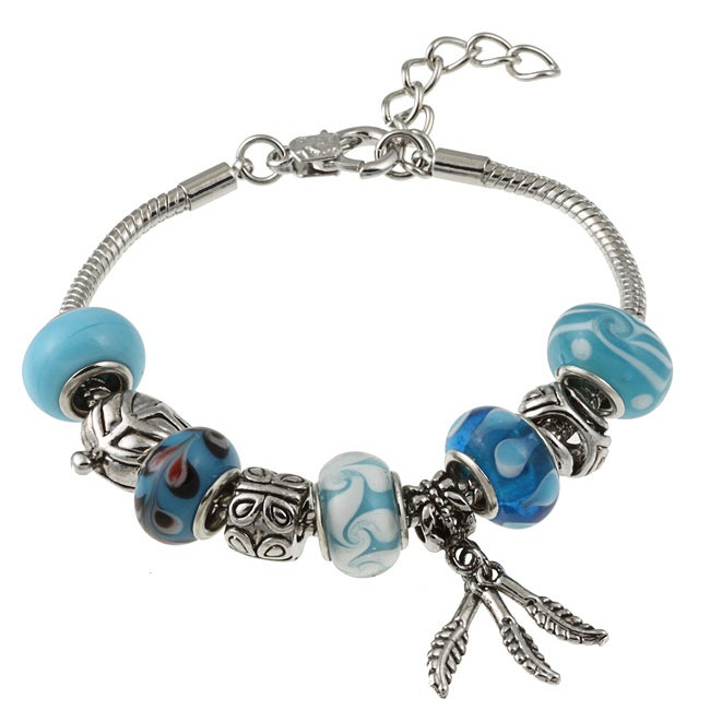 La Preciosa Glass Silverplated Blue Glass Bead and Charm  Bracelet