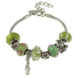La Preciosa Glass Silverplated Green Glass Bead and Charm Bracelet
