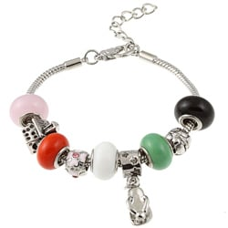 La Preciosa Glass Silverplated Multi-colored Glass Bead and Charm Bracelet
