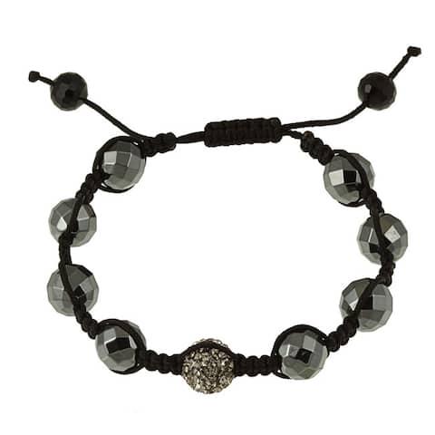 La Preciosa Black Hematite and Crystal Macrame Bracelet