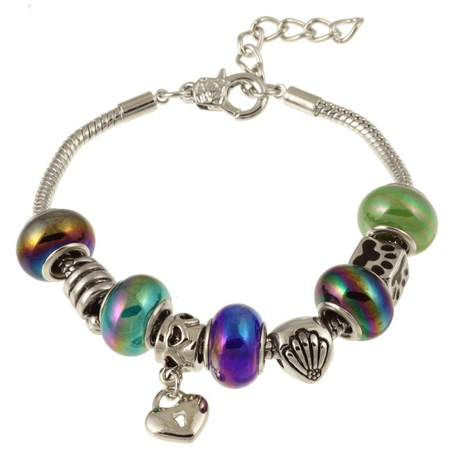 La Preciosa Silverplated Multi-colored Glass Bead and Charm  Bracelet