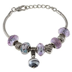 La Preciosa Glass Silverplated Lavender Glass Bead and Charm Bracelet