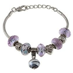 La Preciosa Glass Silverplated Lavender Glass Bead and Charm Bracelet