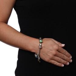La Preciosa Glass Silverplated Multi-colored Glass Bead and Charm Bracelet - Thumbnail 2