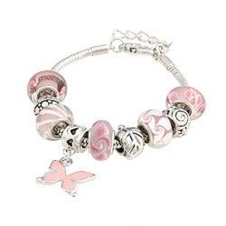 La Preciosa Glass Bead Enamel Butterfly Charm Bracelet