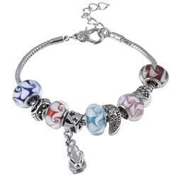 La Preciosa Glass Silverplated Multi-colored Glass Bead and Charm Bracelet