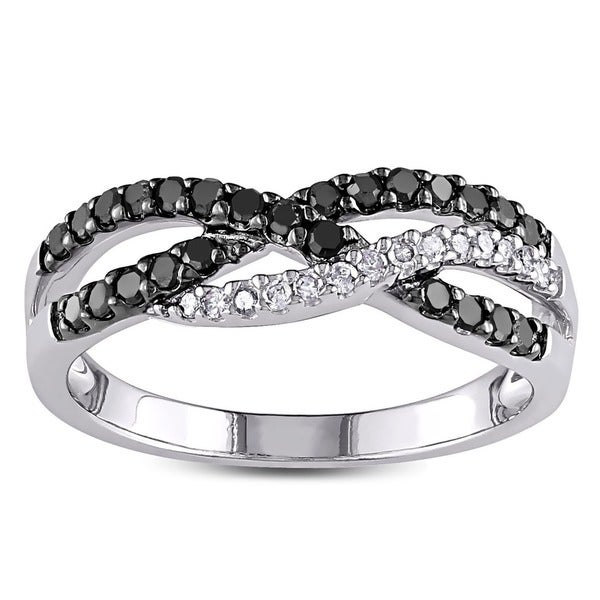 Miadora 10k White Gold 1/3ct TDW Black and White Diamond Ring