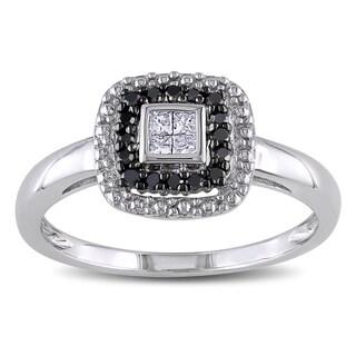 Miadora 10k White Gold 1/6ct TDW White and Black Diamond Halo Ring