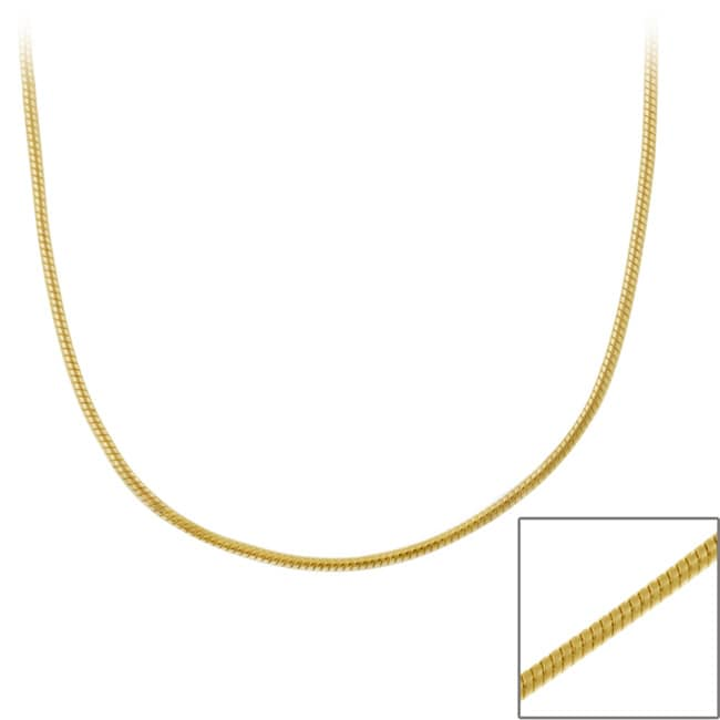Mondevio 18k Gold over Silver 36-inch Snake Chain Necklace