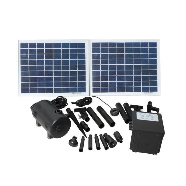 GTMax Solar Panel Water Pump with Battery and LED (2x10 W...