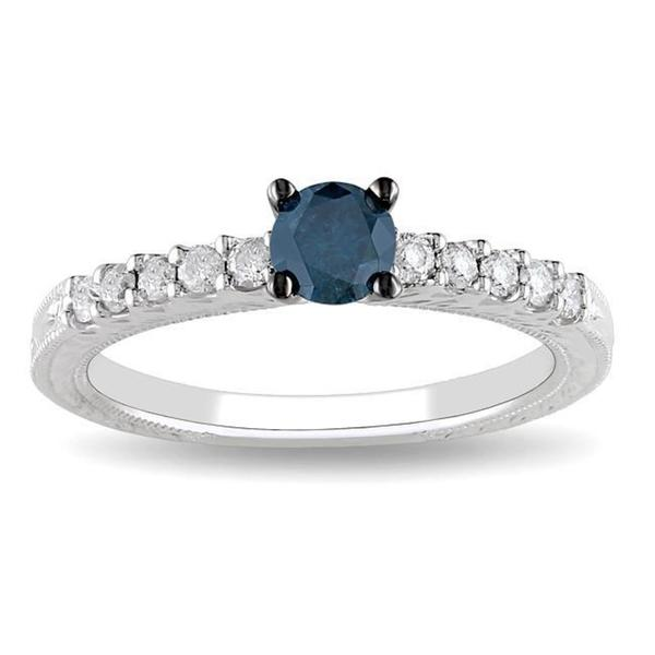 Miadora 14k Gold 1/2ct TDW Blue and White Diamond Ring