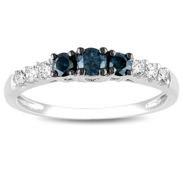 Miadora 14k Gold 1/2ct TDW Blue and White Round-cut Diamond Ring