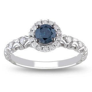 Miadora 14k White Gold 1/2ct TDW Blue and White Diamond Halo Ring
