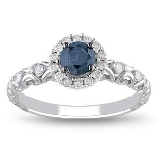 Miadora 14k White Gold 1/2ct TDW Blue and White Diamond Halo Ring (G-H, I2-I3)