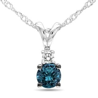 Miadora 10k White Gold 1/4ct TDW Blue Diamond Necklace