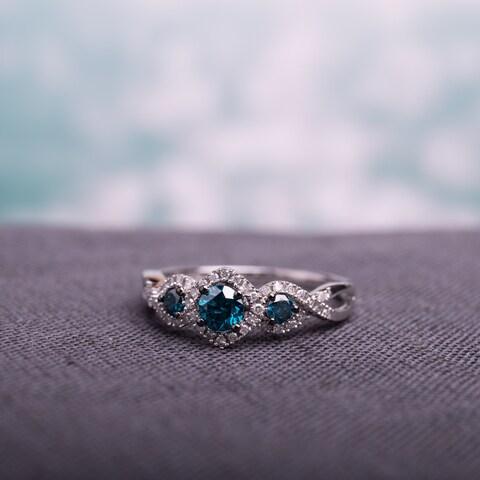 Miadora 1/2ct Blue and White Diamond TW 3 Stone Ring 14k White Gold Rhodium Plated