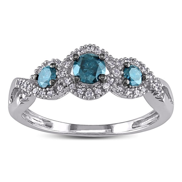 Miadora 1/2ct Blue and White Diamond TW 3 Stone Ring 14k White Gold Rhodium Plated (GH, I2-I3)