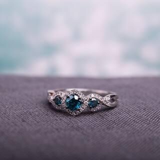 Miadora 1/2ct Blue and White Diamond TW 3 Stone Ring 14k White Gold Rhodium Plated|https://ak1.ostkcdn.com/images/products/5950012/P13647982.jpg?impolicy=medium