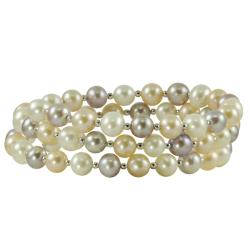Pearls For You Sterling Silver Freshwater Pastel Pearl Coiled Bangle (6-7 mm)