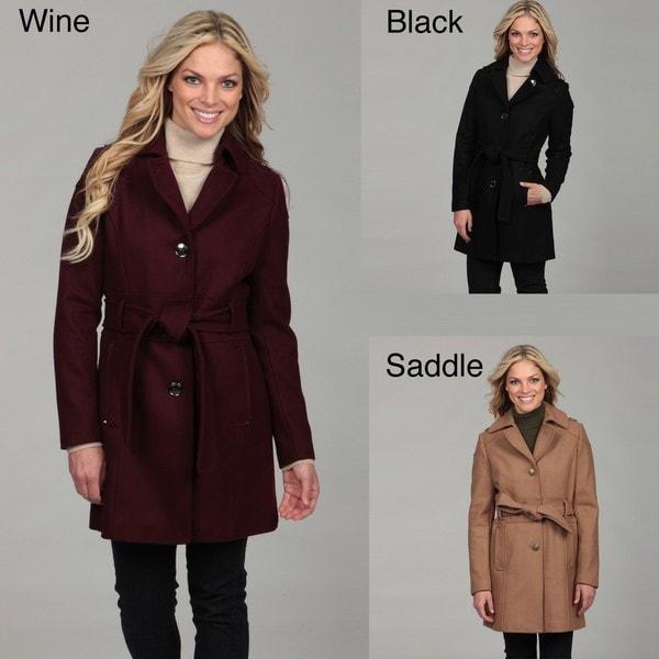 Kenneth Cole Women's Wool Button-front Tie Waist Coat FINAL SALE ...