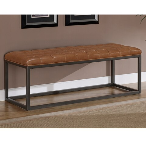 Jasper Laine Healy Saddle Brown Bonded Leather and Metal Bench