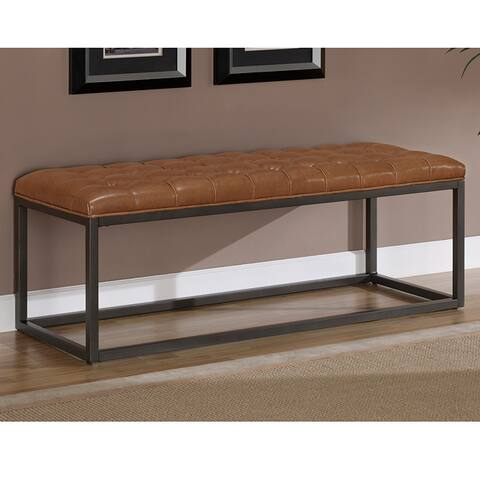 Strick & Bolton Healy Saddle Brown Bonded Leather and Metal Bench