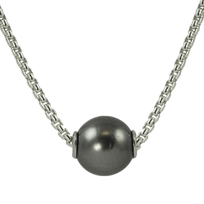Pearls For You Sterling Silver Tahitian Pearl Solitaire Necklace (9-10 mm)