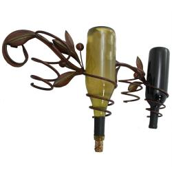 Olive Vine Metal Wall Wine Bottle Holder