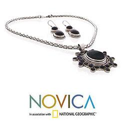 Sterling Silver 'New Star' Onyx Jewelry Set (India) - Thumbnail 1