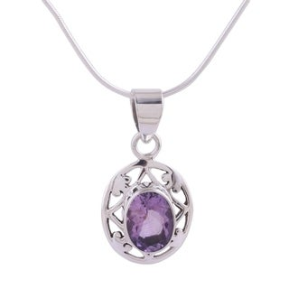 Handmade Sterling Silver 'Lilac Dew' Amethyst Necklace (India)