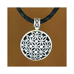 Sterling Silver 'Java Rosette' Leather Necklace (Indonesia)