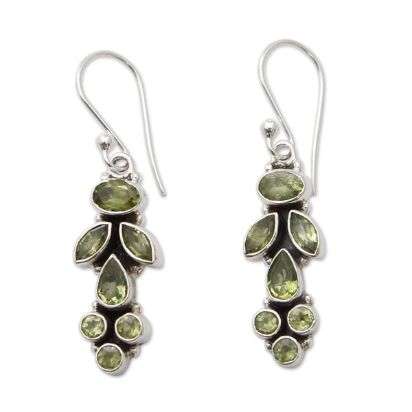 Summer Allure Faceted Green Peridot Gemstone 9 TCW with Oxidized 925 Sterling Silver Long Womens Dangle Earrings (India)