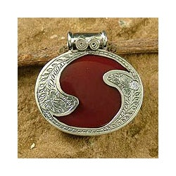 Sterling Silver 'Royal Amulet' Carnelian Pendant (India)