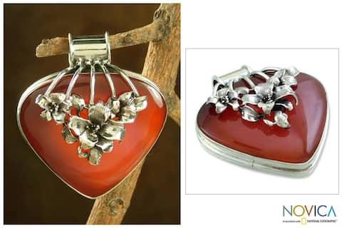 Handmade Sterling Silver 'Incandescent Tulips' Carnelian Pendant (India)