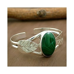 Sterling Silver 'Ivy' Malachite Cuff Bracelet (India)